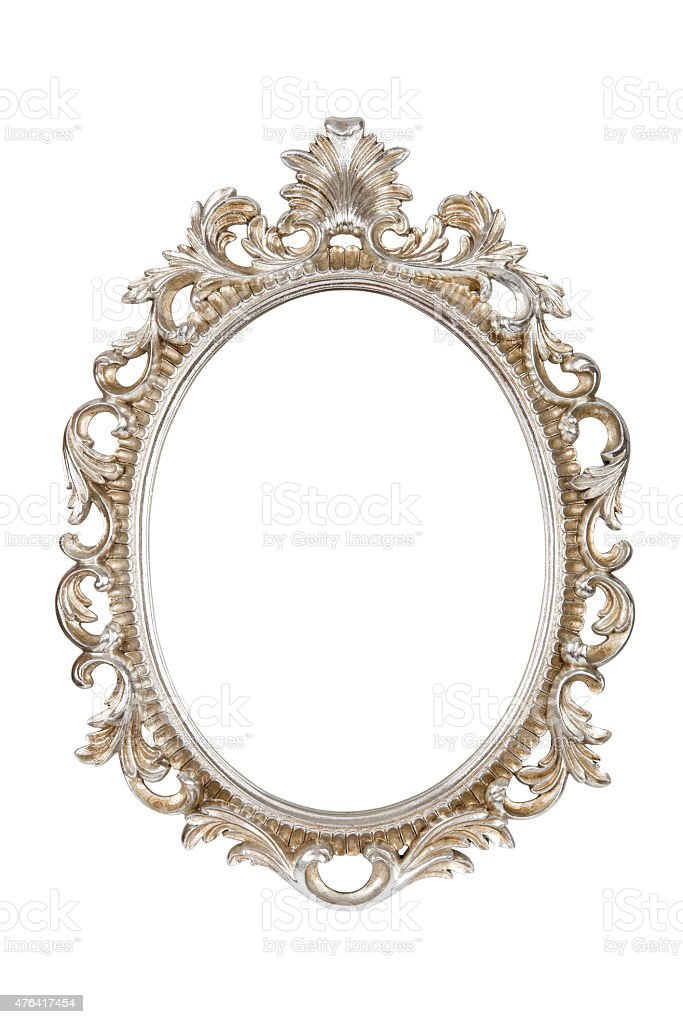 Silver picture frame isolated on white background stock photo
