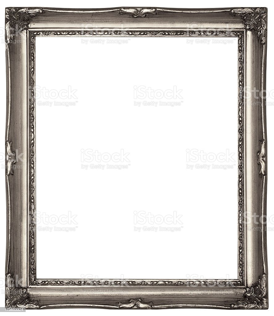 Silver Picture Frame Isolated on White with Clipping Path stock photo