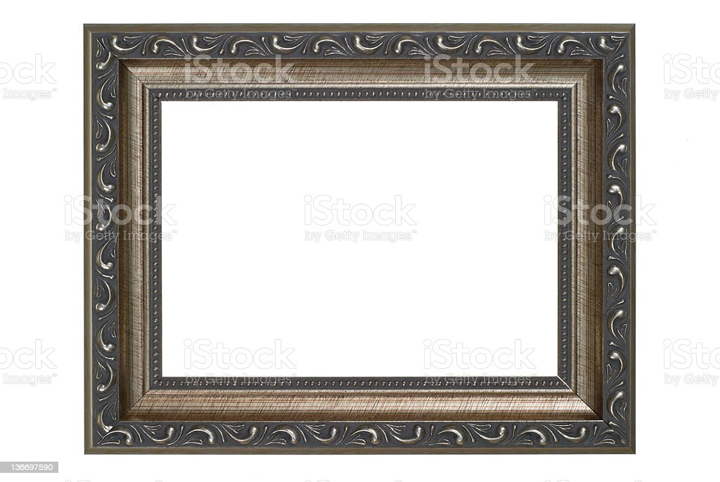 Silver Picture Frame, White Isolated royalty-free stock photo