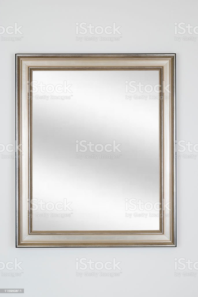 Silver Picture Frame with Mirror, White Isolated royalty-free stock photo