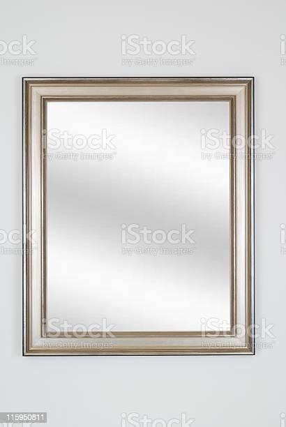 Silver Picture Frame With Mirror White Isolated Stockfoto en meer beelden van Antiek - Ouderwets