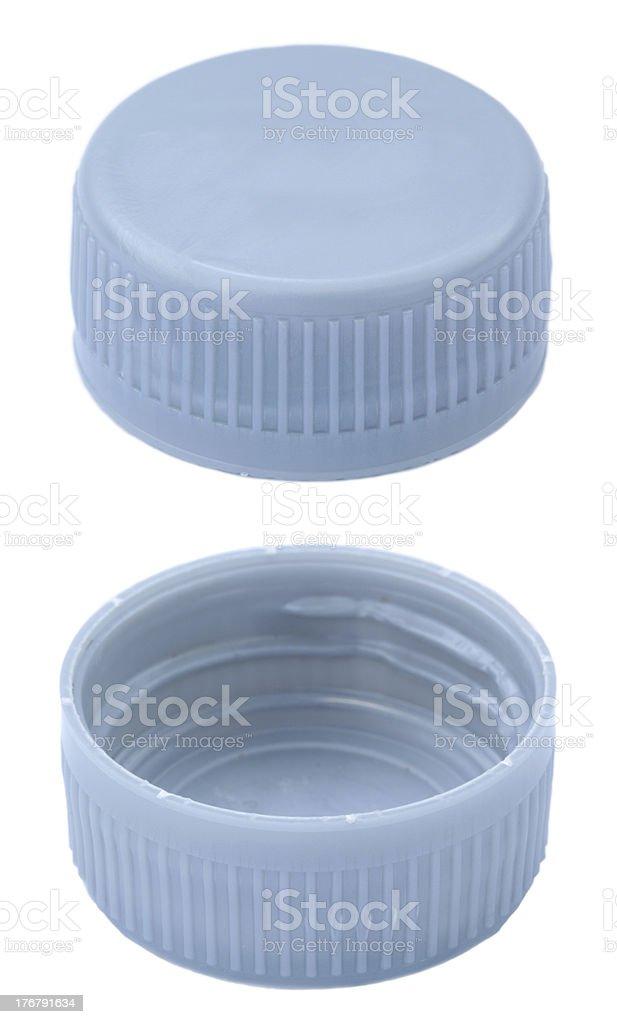 Silver Plastic Bottle Caps stock photo