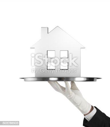 istock silver plate with metal house 503288503