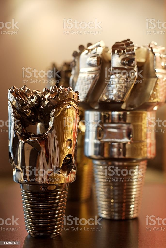 Silver Plated Oil Rig Drill Bits royalty-free stock photo