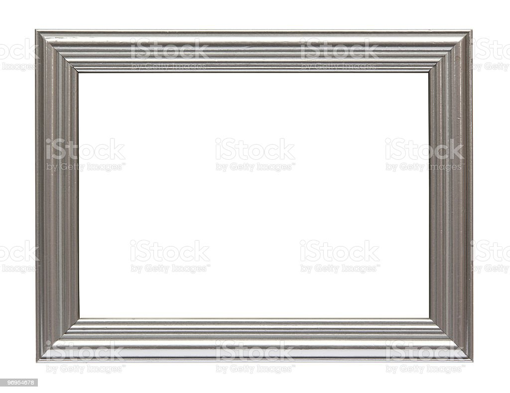 Silver plated wooden frame isolated on white royalty-free stock photo