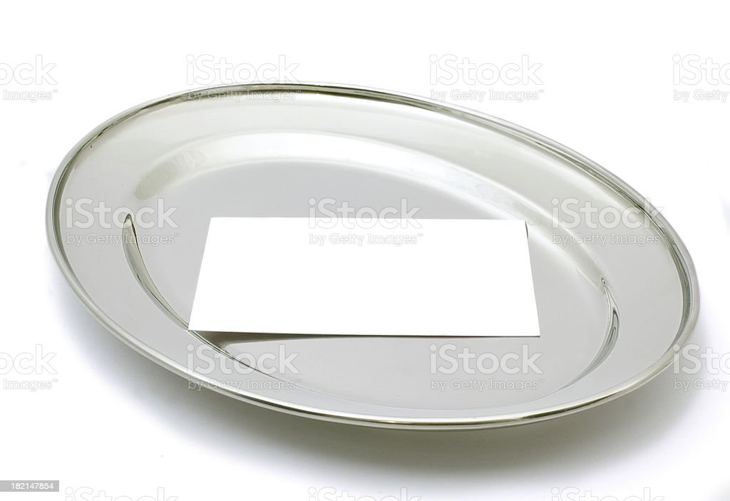 silver platter and card stock photo