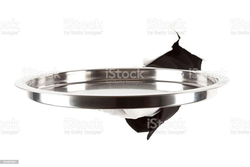 silver platter held on white background royalty-free stock photo