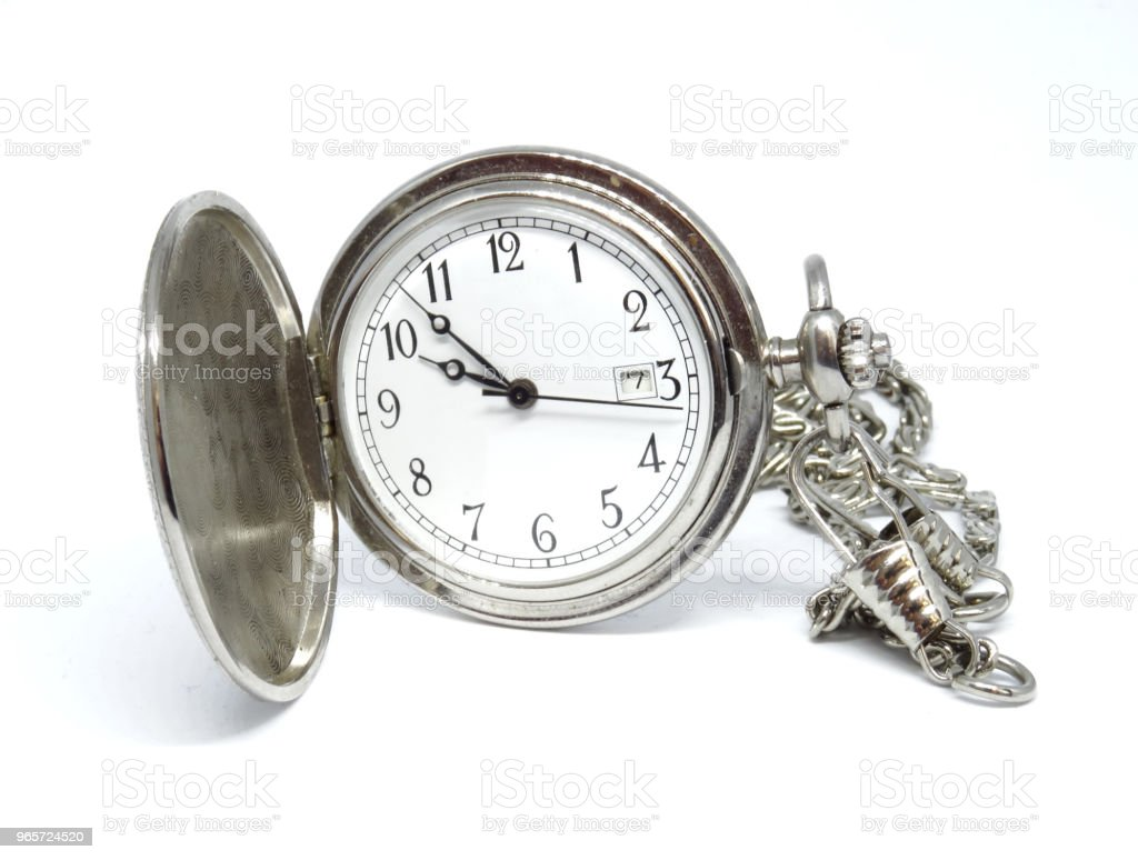 Silver pocket watch - Royalty-free Chain - Object Stock Photo