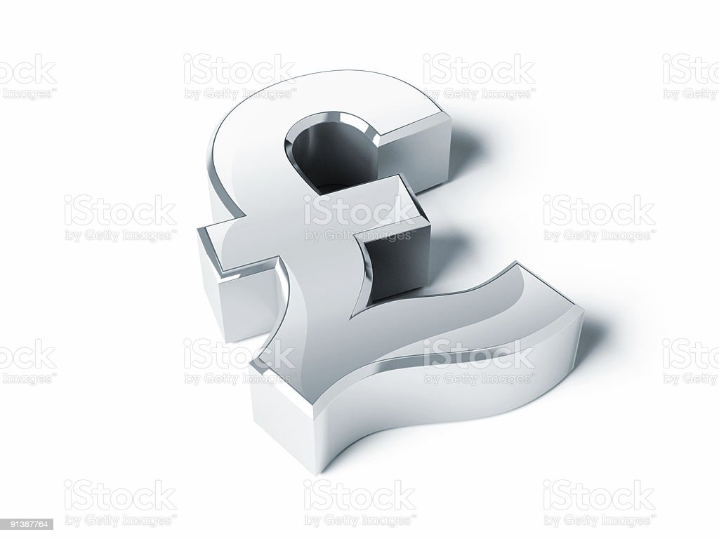 Silver Pound symbol royalty-free stock photo