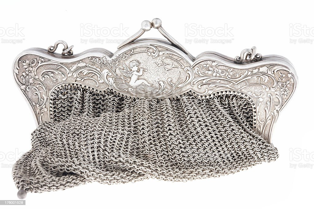 Silver purse royalty-free stock photo