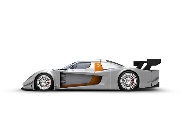 Silver Race car stock photo