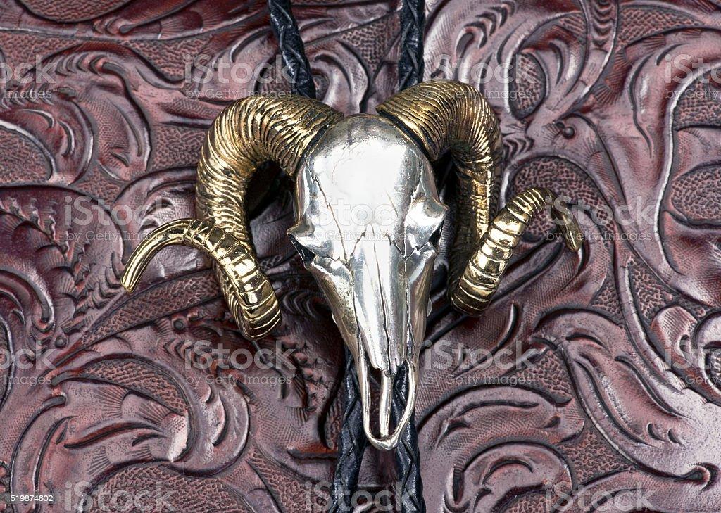 Silver Ram head bolo tie. stok fotoğrafı