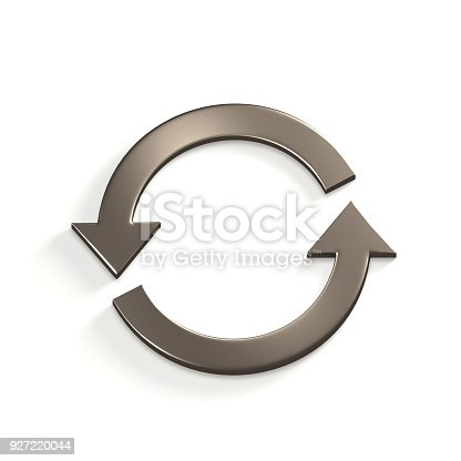 istock Silver Recycling Circular Arrows. Gold. 3D Render Illustration 927220044