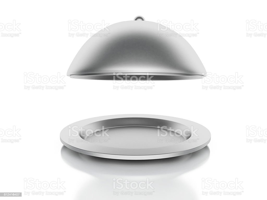 Silver Restaurant cloche on a white background stock photo