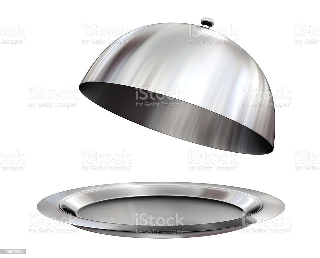 A silver restaurant cloche with open lid stock photo