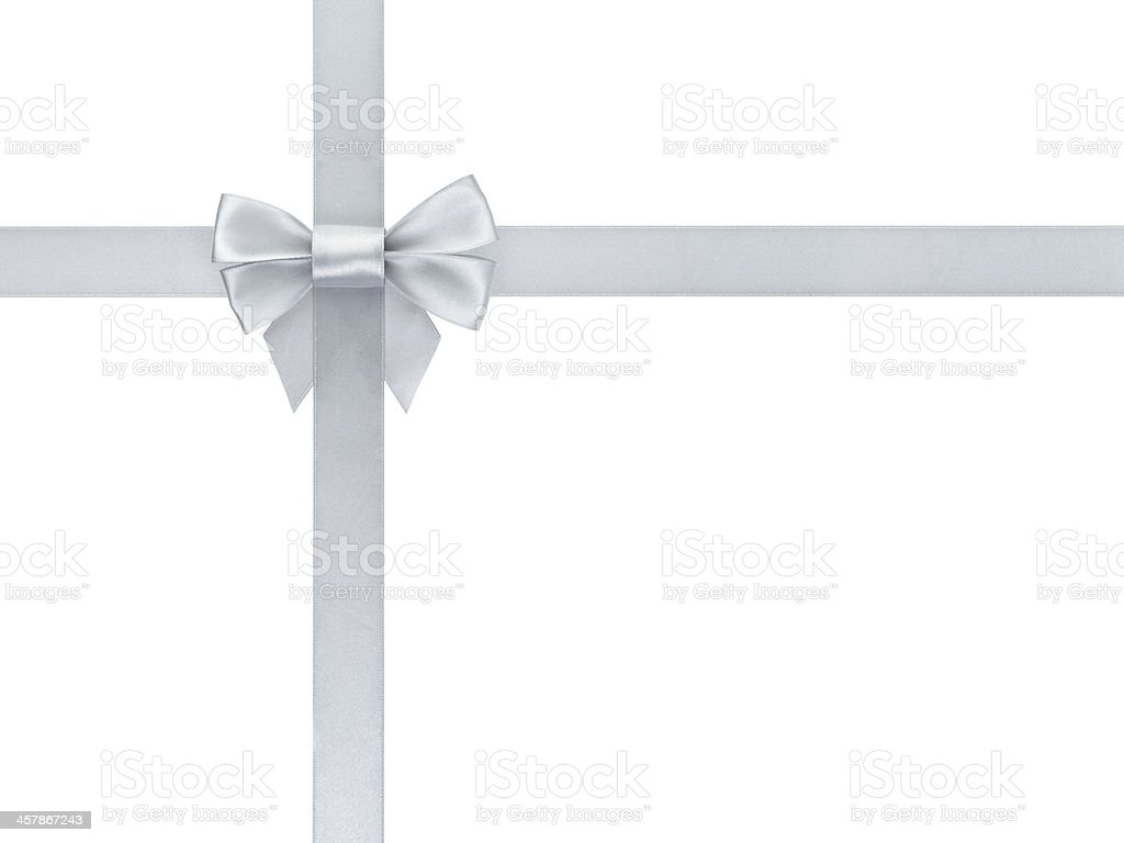 silver ribbon bow composition stock photo