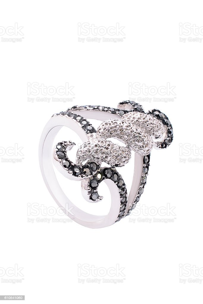 Silver ring with brilliants on a white background stock photo