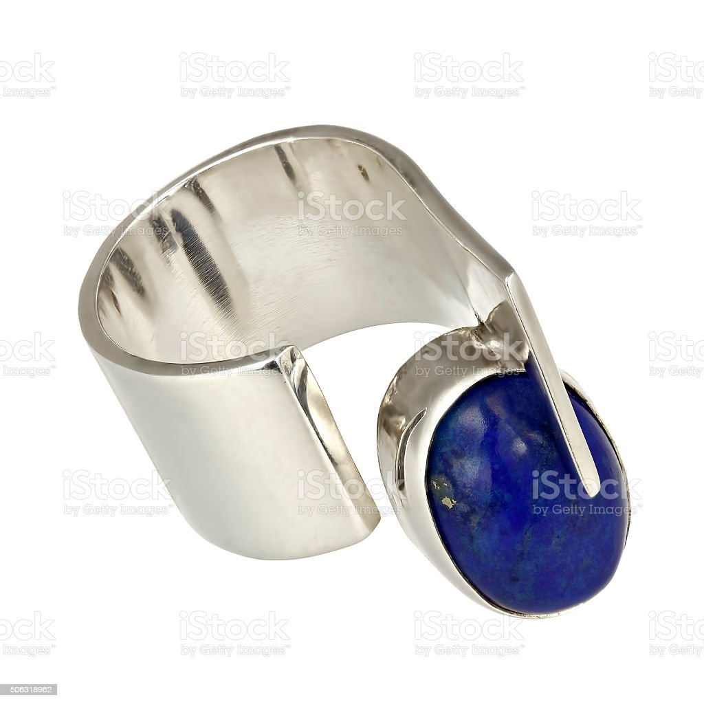 Silver ring with lapiz lazuli stock photo