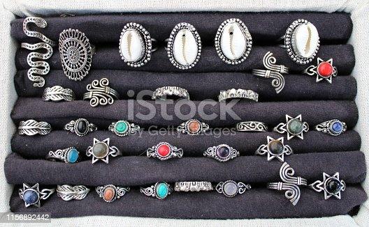 istock Silver rings with semiprecious stone 1156892442