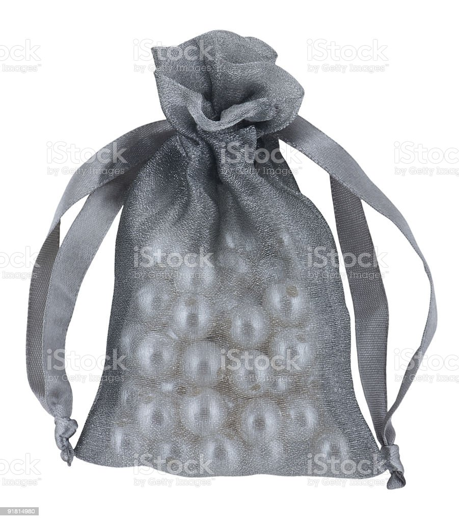 Silver sack full of pearls royalty-free stock photo