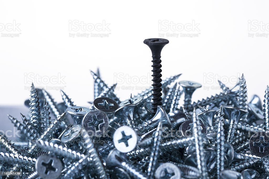 Silver Screw and one Black royalty-free stock photo