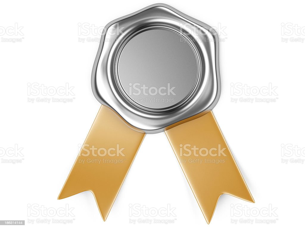 silver seal with red ribbon stock photo