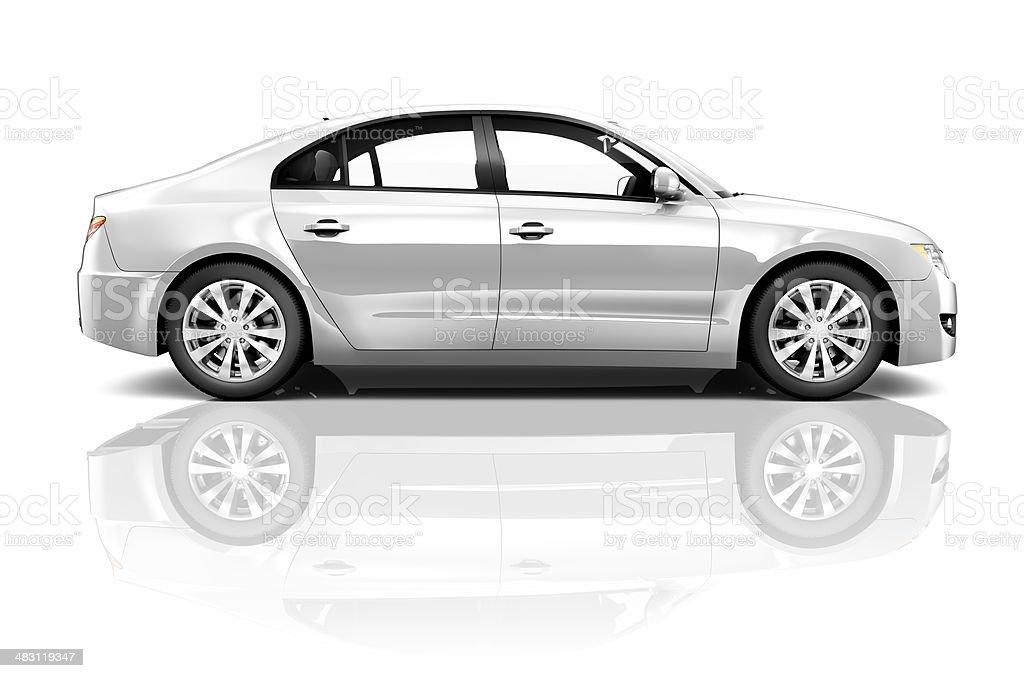 3D Silver Sedan Car on White Background royalty-free stock photo