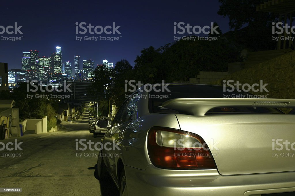 Silver Sedan & LA royalty-free stock photo