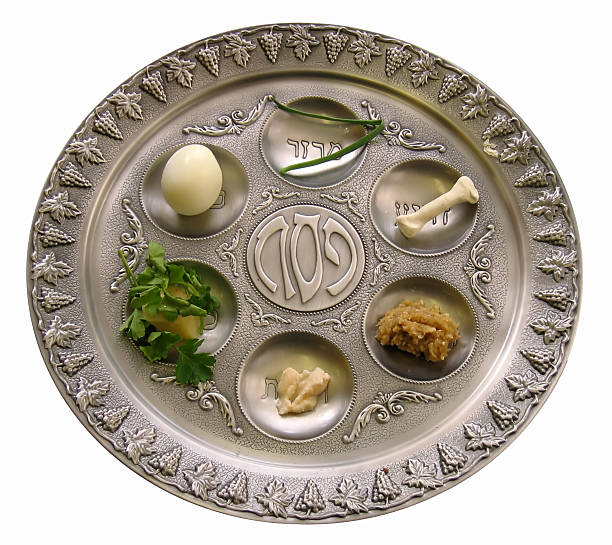 Silver Sedar plate with foods for the Passover celebration Seder plate for Jewish Passover. seder plate stock pictures, royalty-free photos & images
