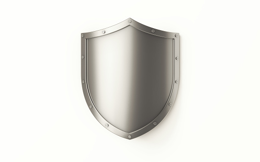 Silver shield on white background, Horizontal composition with clipping path and copy space.