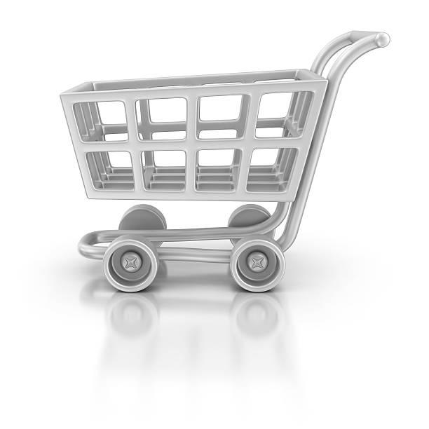 silver shopping cart icon stock photo