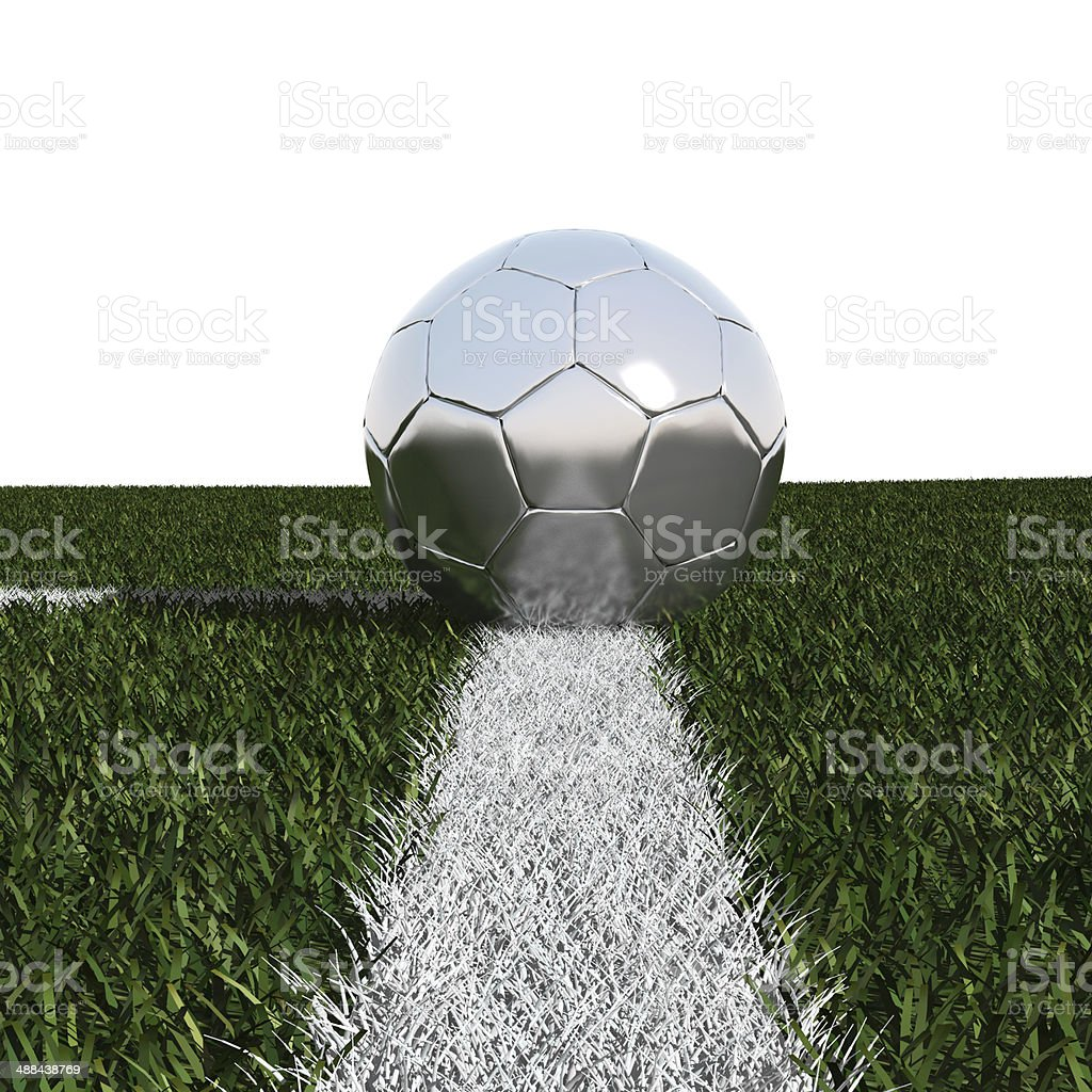 Silver soccer ball in the grass isolated on white royalty-free stock photo