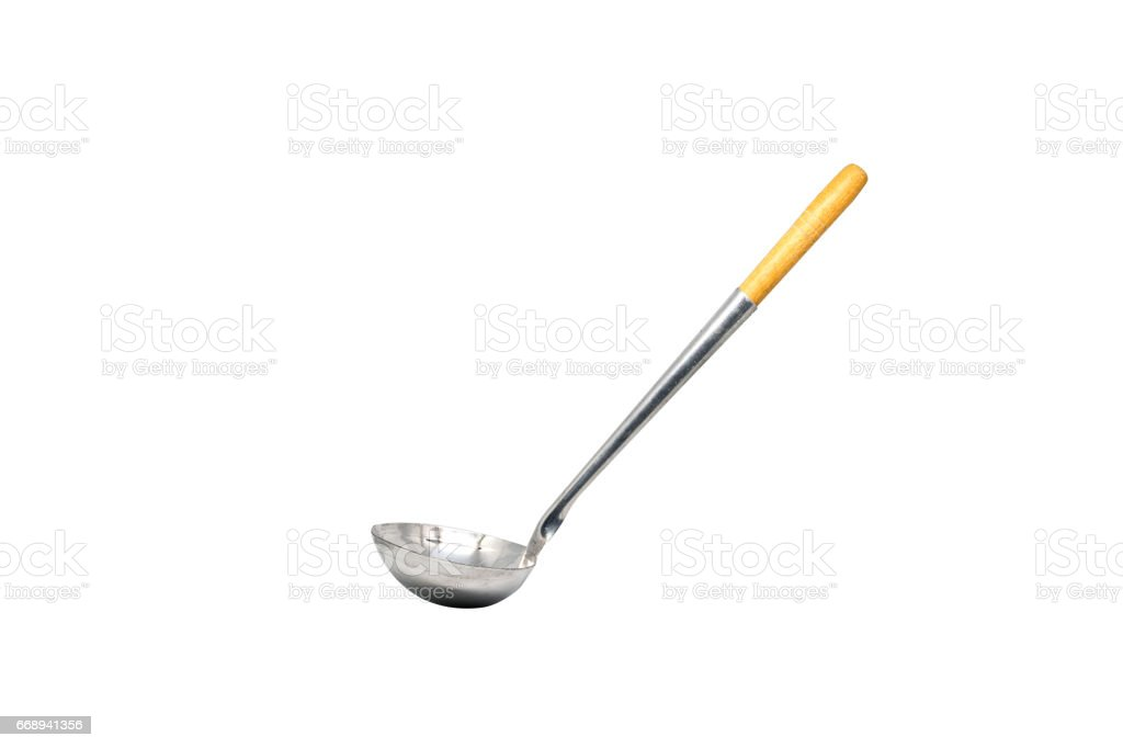 silver soup ladle on white background stock photo