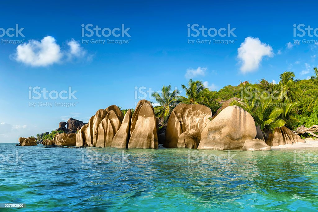 anse source d'argent la digue island  seychelles stock photo