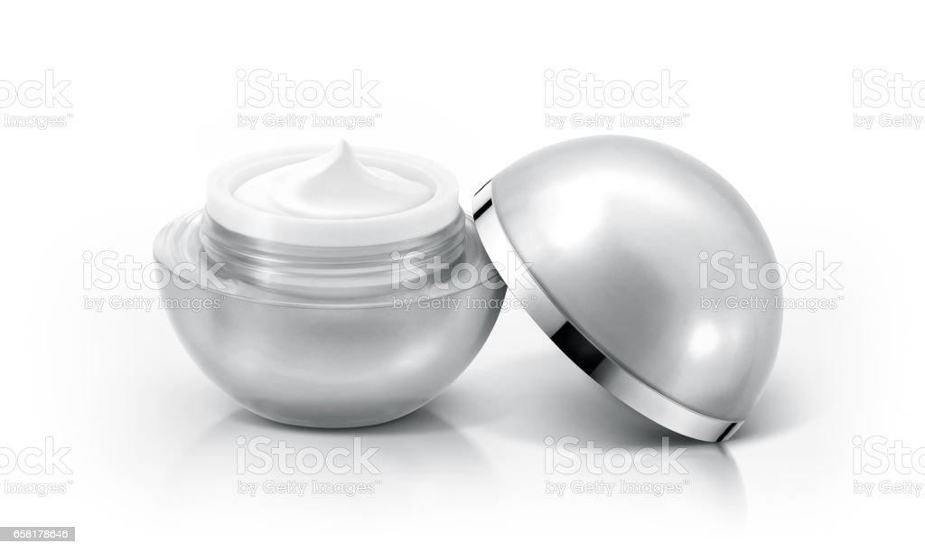 Silver sphere cosmetic jar on white background stock photo
