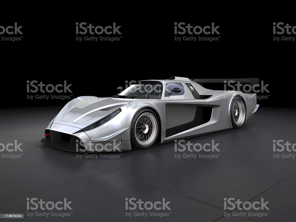 Silver sport car on black background stock photo
