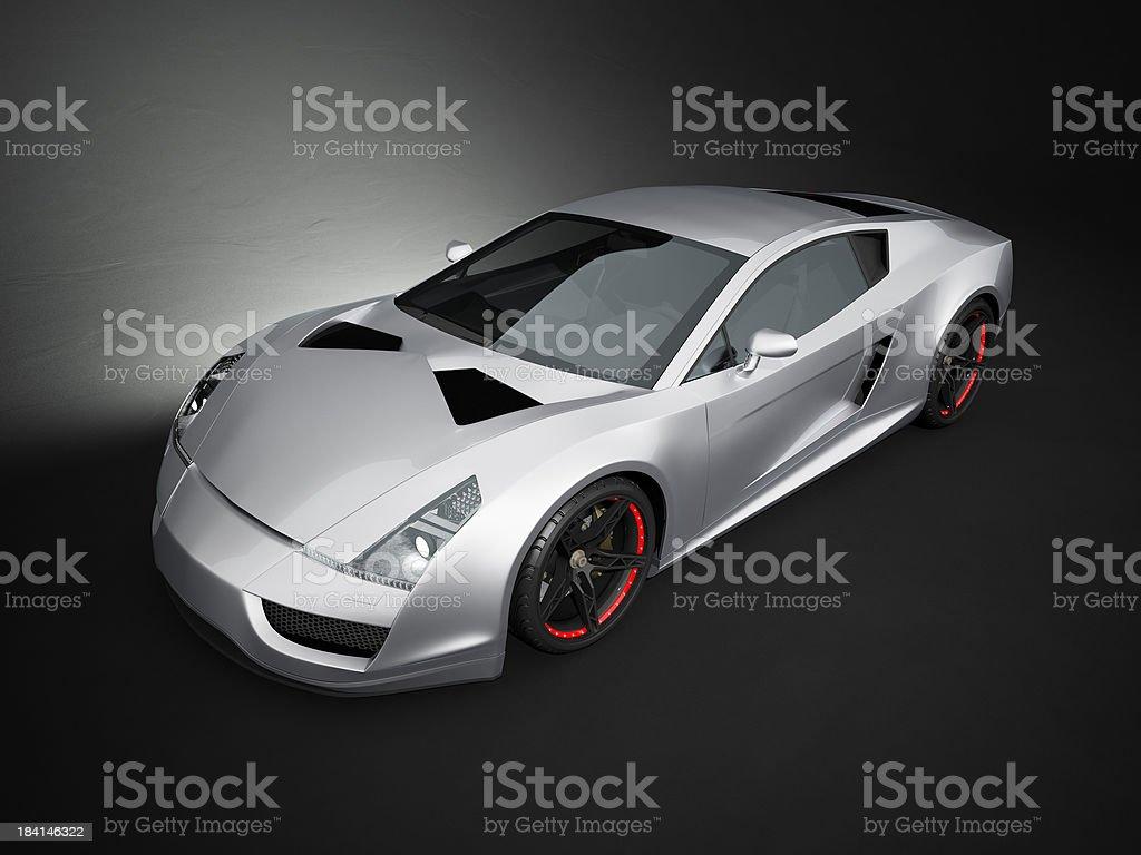 Silver sport car on black studio background royalty-free stock photo