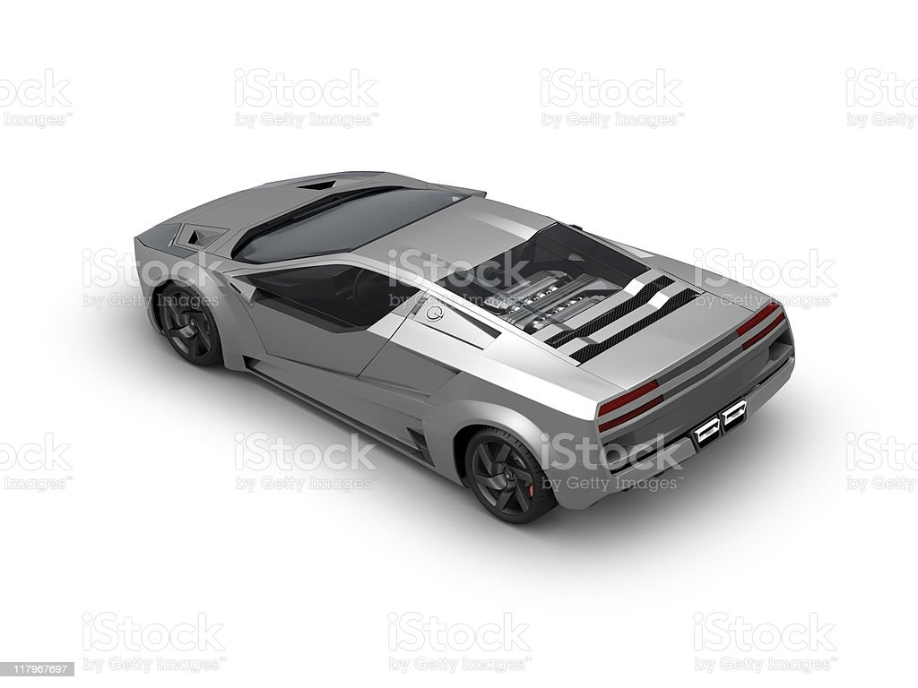 Silver sport car on white background royalty-free stock photo