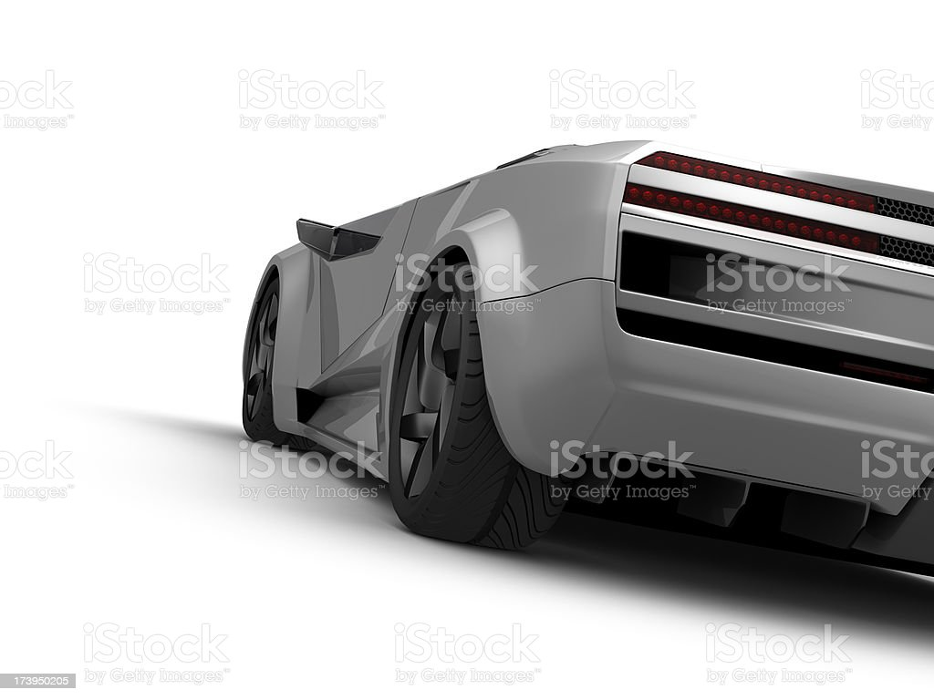 Silver sport car on white background stock photo