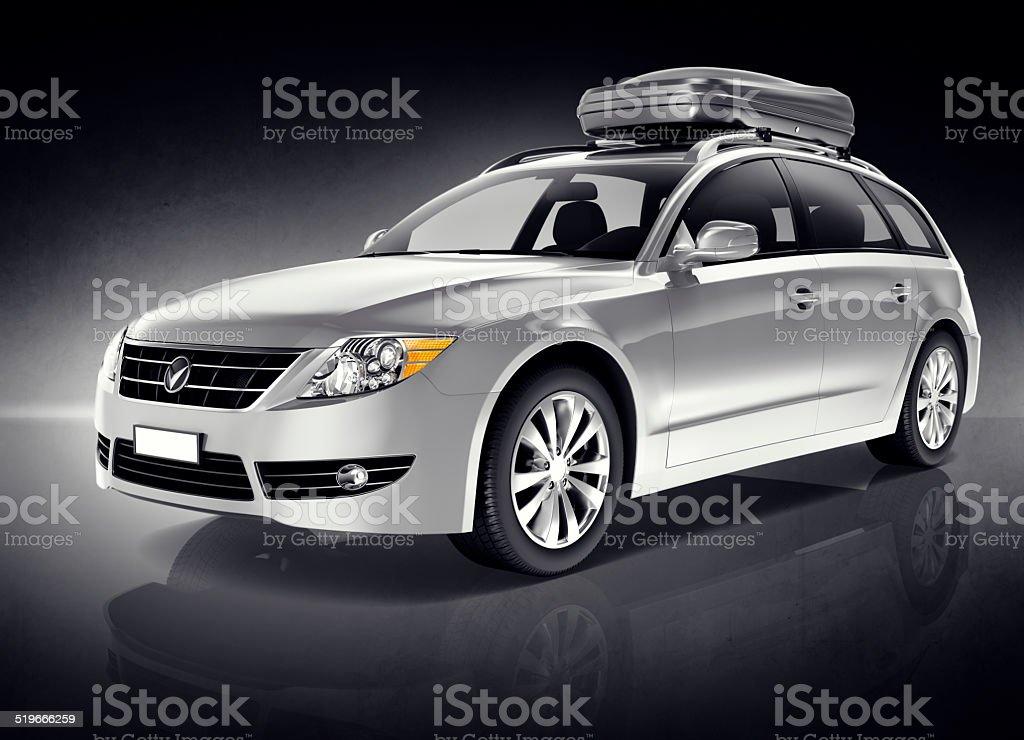 3D Silver Sports Car stock photo