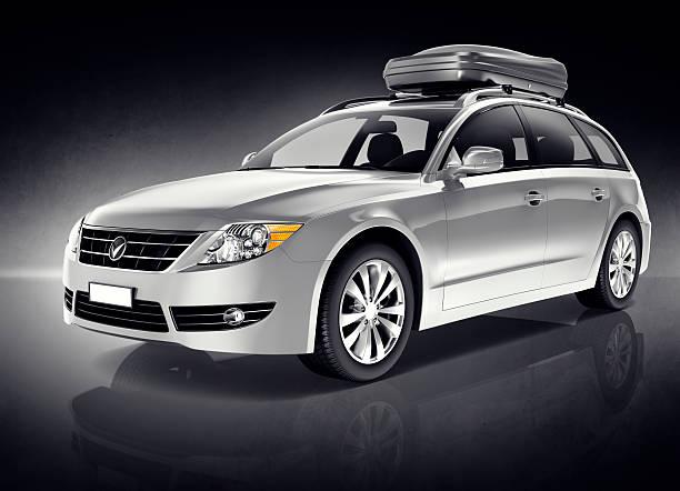 3 d silber sports car - kombi stock-fotos und bilder