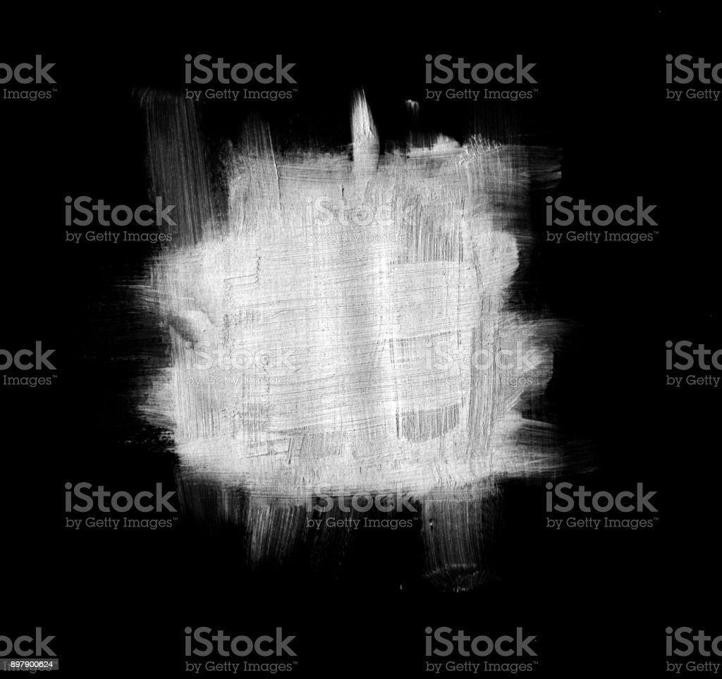 Silver square stain - abstract hand painted uneven smudge on black background stock photo