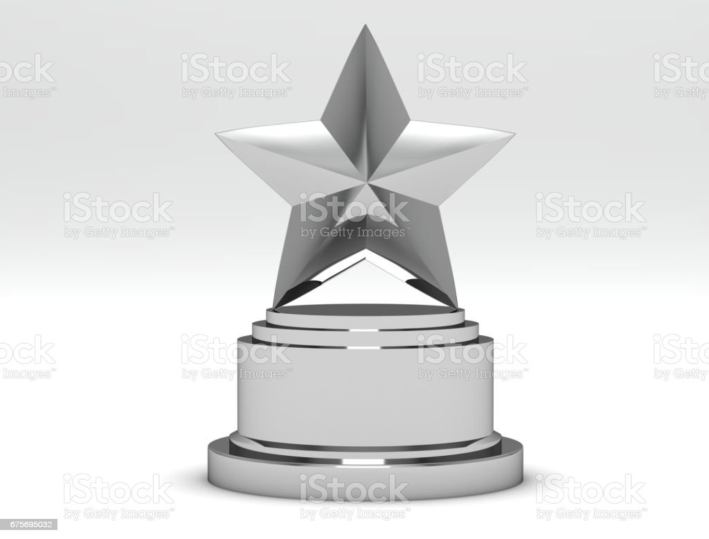 Silver Star Awards on a white background. 3d Rendering royalty-free stock photo