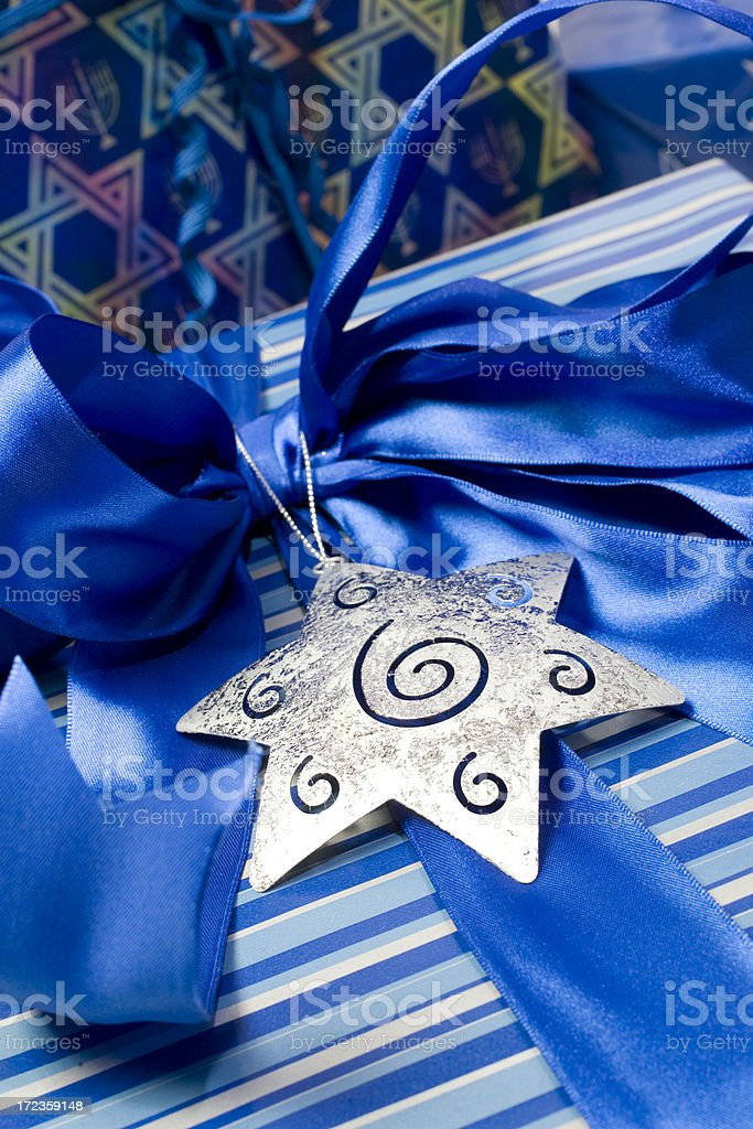 Silver star blue ribbon gift royalty-free stock photo