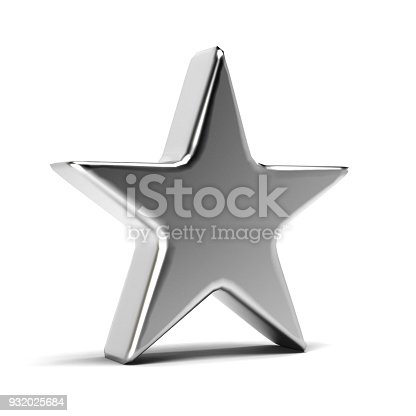 871072052 istock photo Silver Star Icon. 3D Gold Render Illustration 932025684