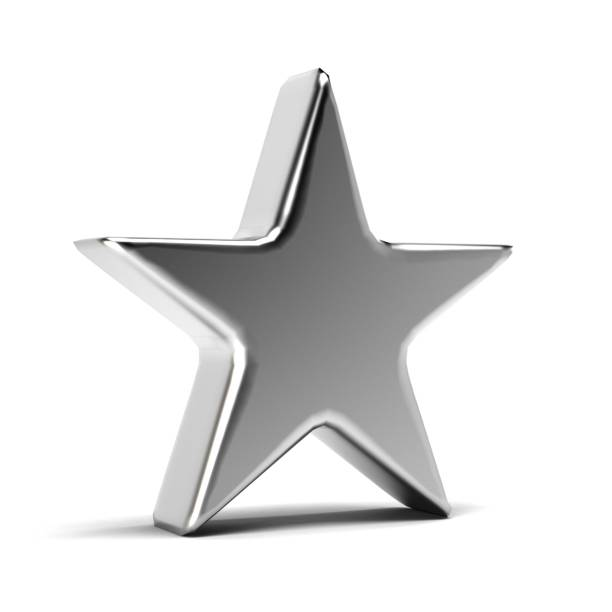 silver star-symbol. 3d gold render illustration - kunst 1. klasse stock-fotos und bilder