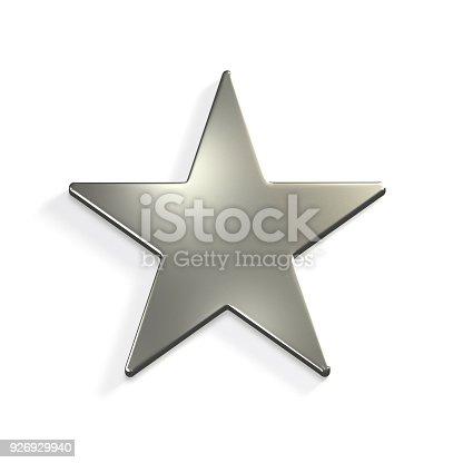 871072052 istock photo Silver Star Icon. 3D Render Illustration 926929940