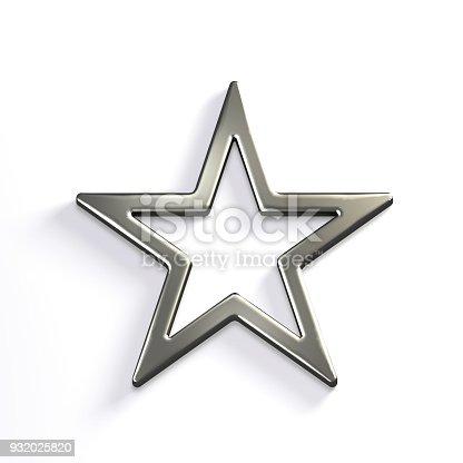 871072052 istock photo Silver Star Icon. 3D Render Illustration 932025820