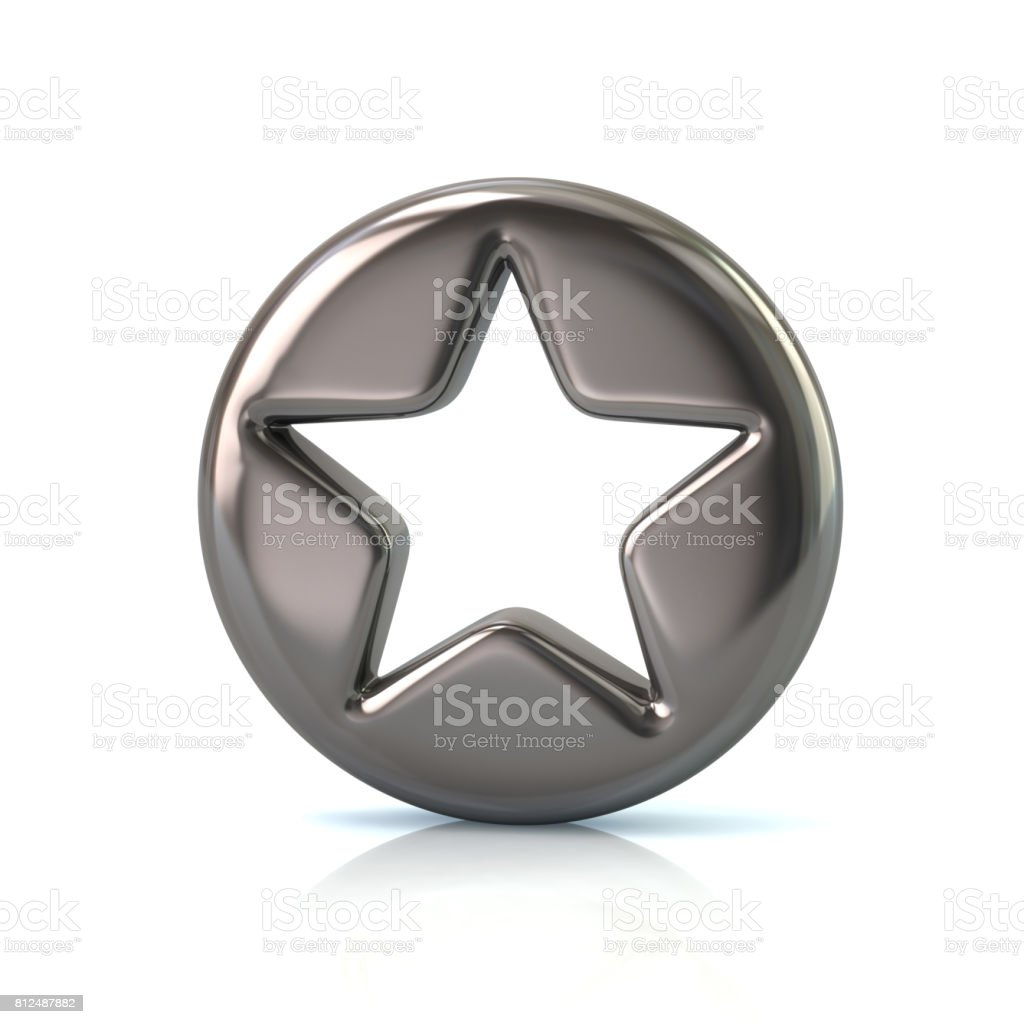 Silver star sign button stock photo