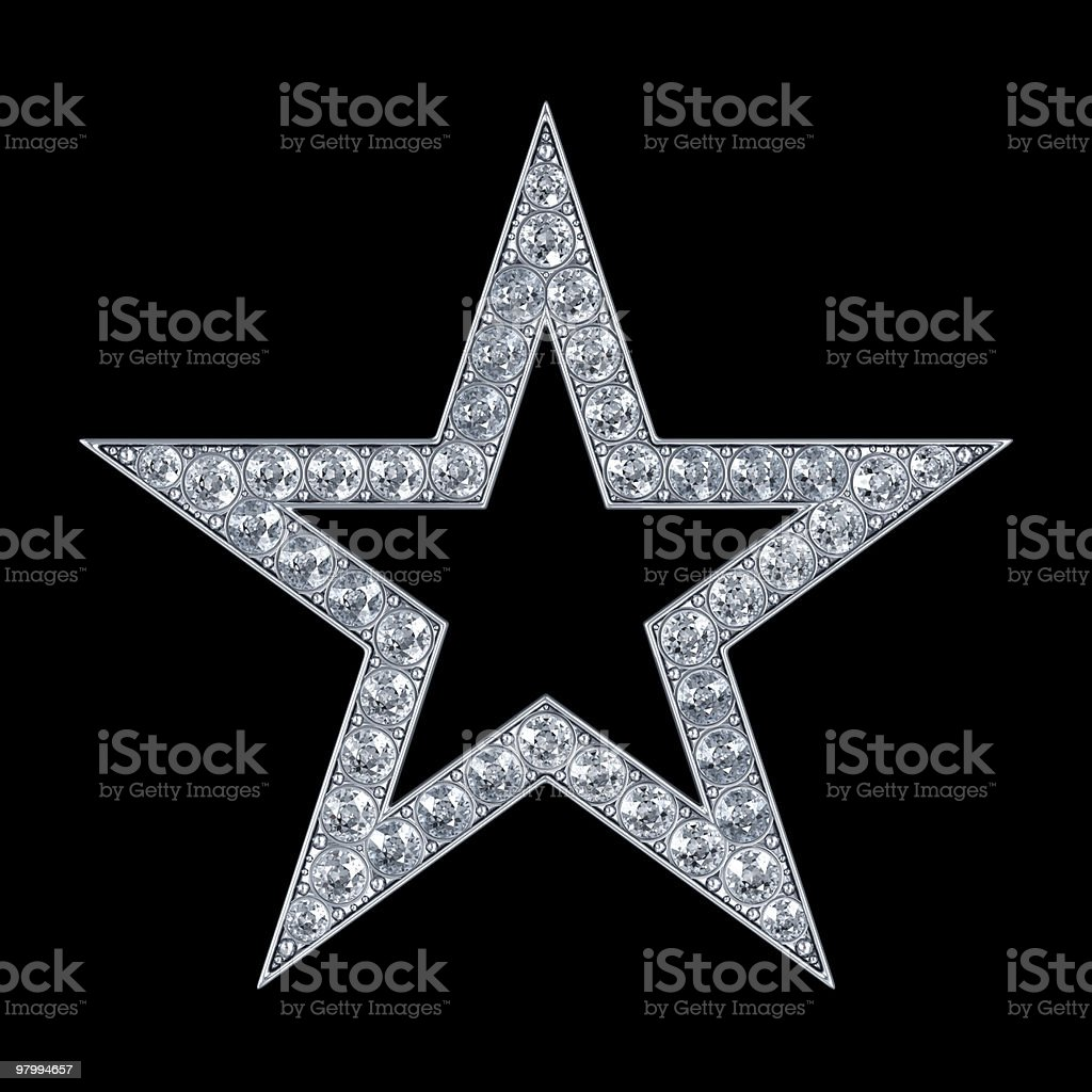 Silver star with diamonds royalty-free stock photo